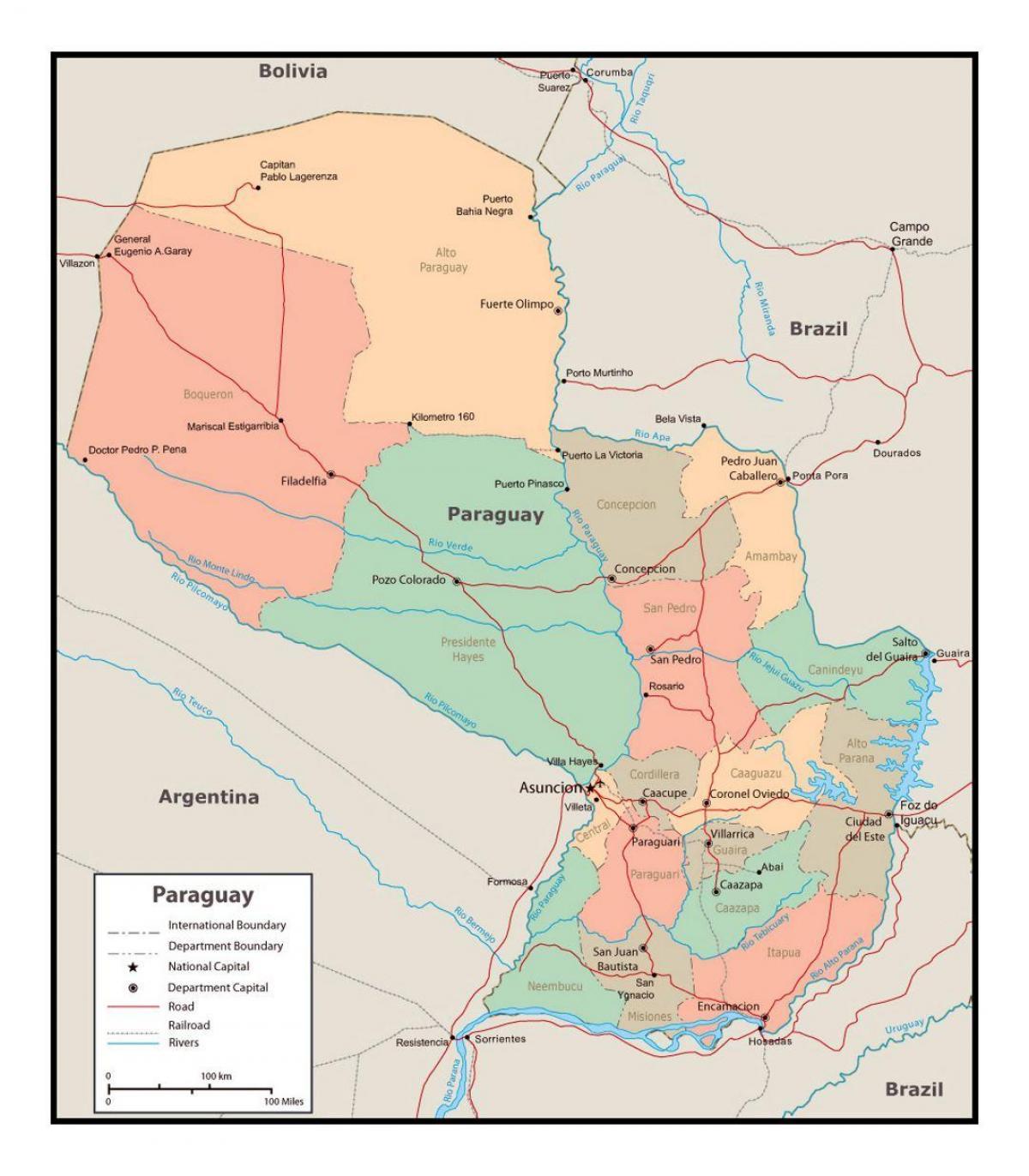 Amerika Gradovi Karta.Karta Paragvaja S Gradovima Karta Paragvaja Sa Gradovima Juzna